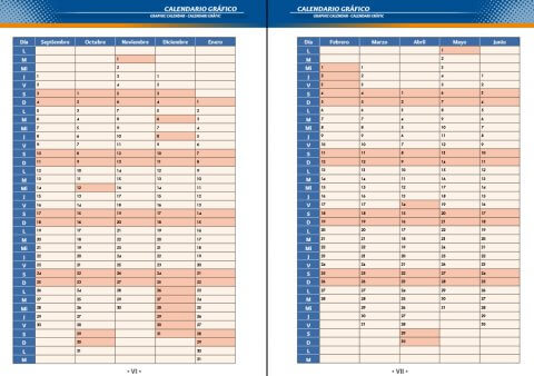 Calendario gráfico agenda escolar personalizada de secundaria